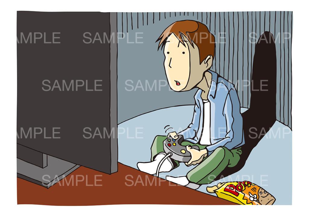テレビゲームをする人のイメージイラスト