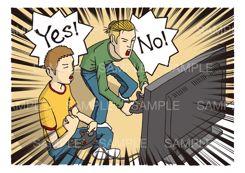 テレビゲームをする若者2人のイメージイラスト