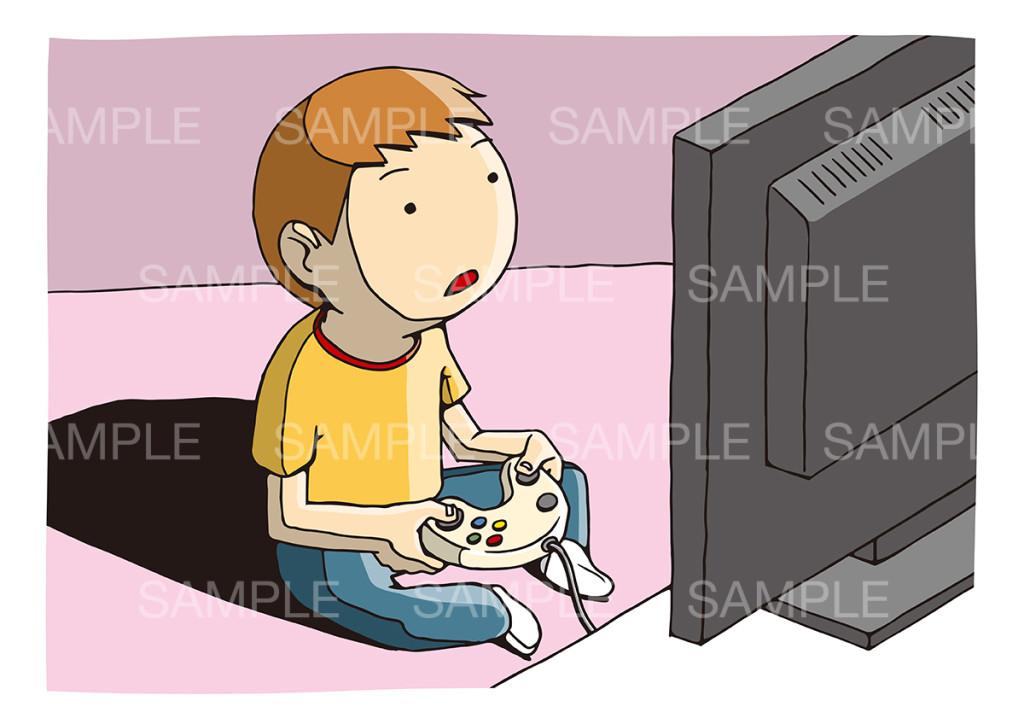 テレビゲームをする子供のイメージイラスト